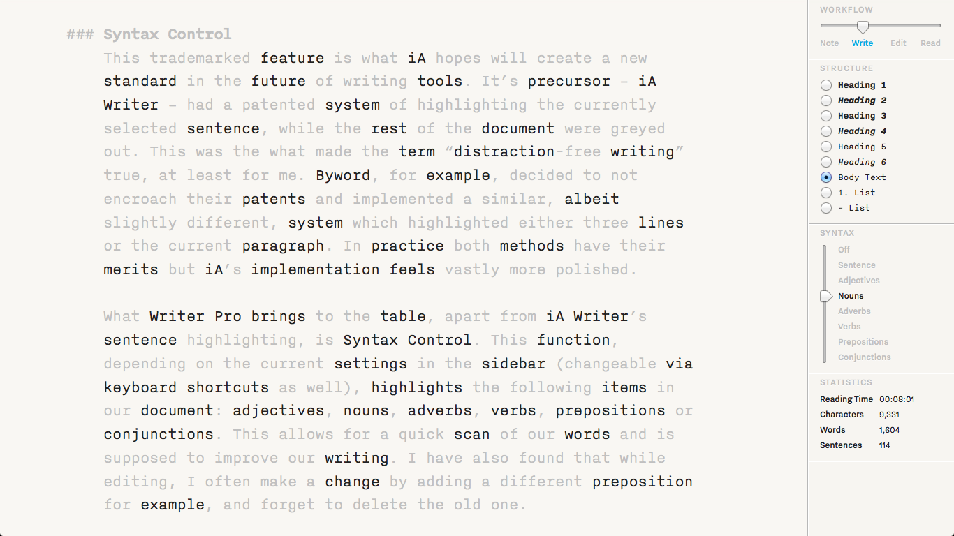 Writer Pro — Edit view with Syntax Control