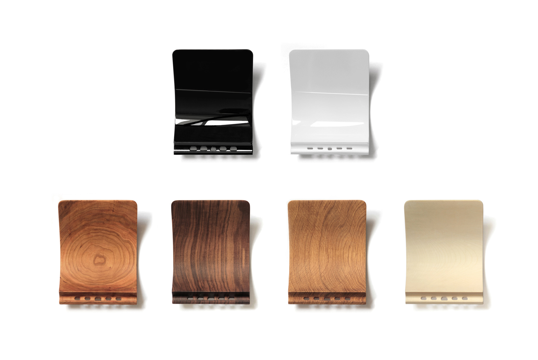 Available versions — lacquered or made from wood.