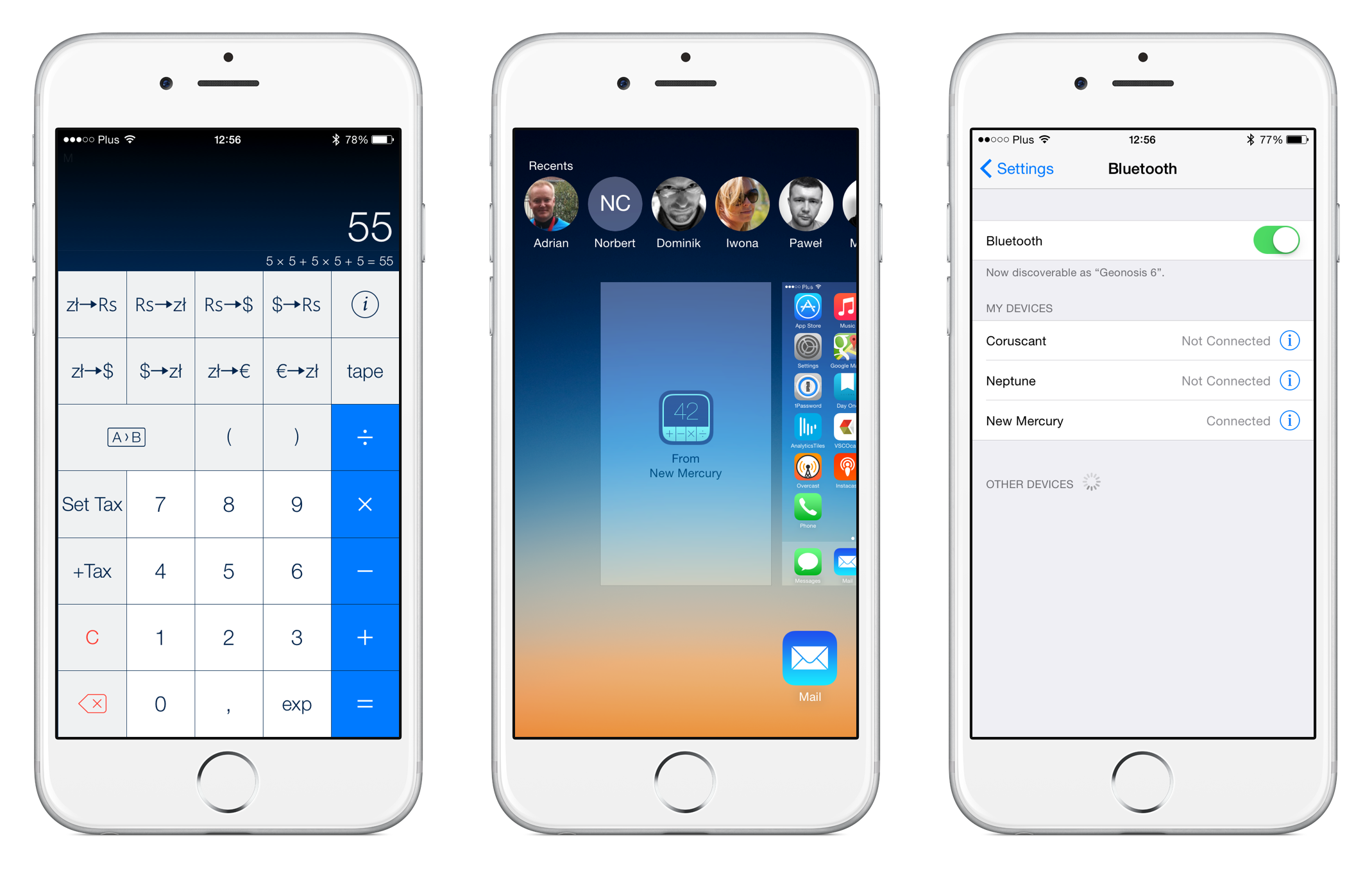 Left: PCalc synced with OS X. Middle: Handoff card in multitasking tray. Right: Bluetooth settings.