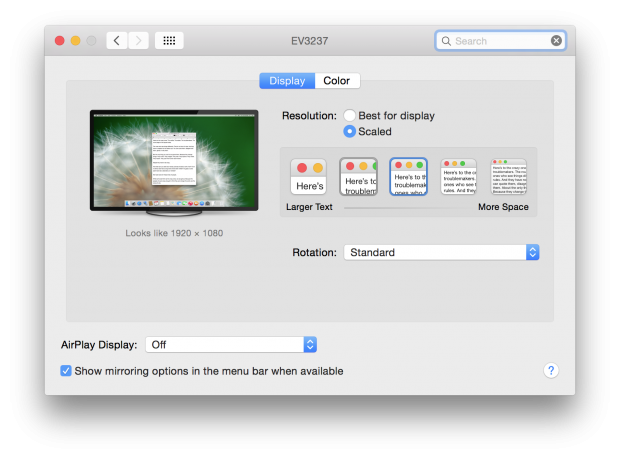 Retina display settings OS X Yosemite