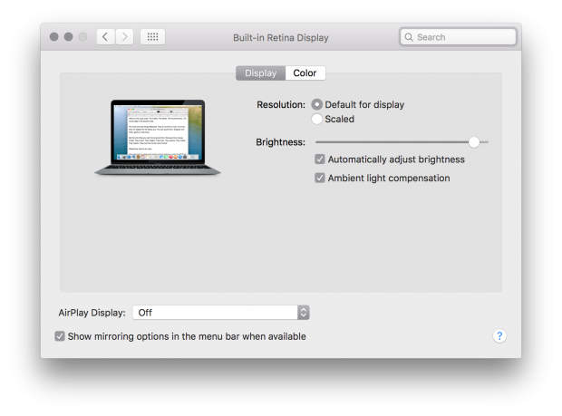 El Capitan beta 6 Display Preferences with Ambient Light Compensation