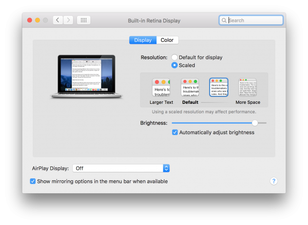 El Capitan beta 7 Display Preferences without Ambient Light Compensation