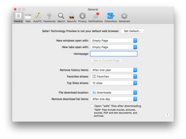 Safari Technology preview Settings 01